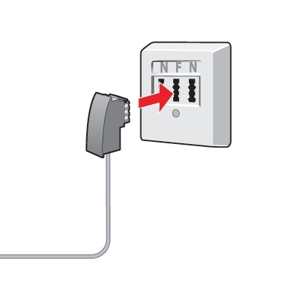DSL-Kabel in die TAE-Dose.